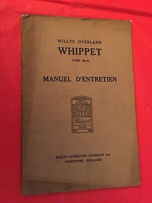 "x. c.1927 Willys Overland ""Whippet Type 96-A"" Car Owner's Manual (French Text)"