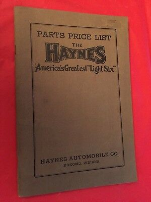 "x. c.1915 Haynes ""Light Six"" Car Dealer Parts Price List Catalog Manual"