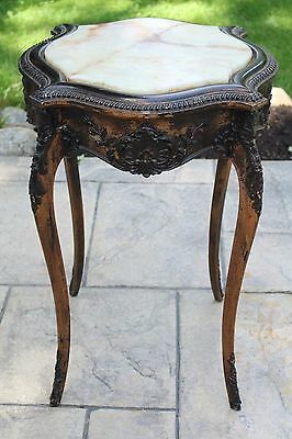 Antique Louis XV Style Marble Topped Carved Wood Side End Table