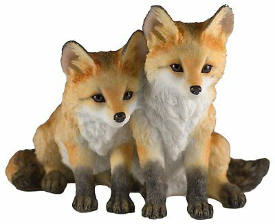 "Two Fox Pups Kits Figurine 4""H Highly Detailed Polystone New In Box"