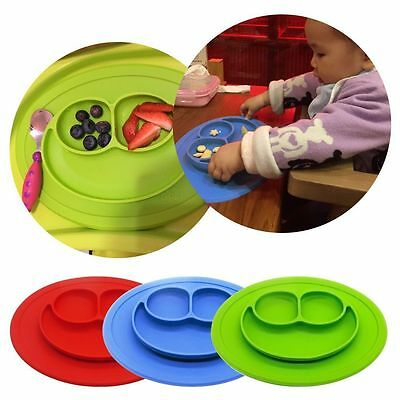 Kids Silicone Baby Placemat 3 Compartments Food Plate No Slip Plate/Bowl/Tray