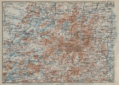 THE ADIRONDACK MOUNTAINS . New York State. BAEDEKER 1909 old antique map chart