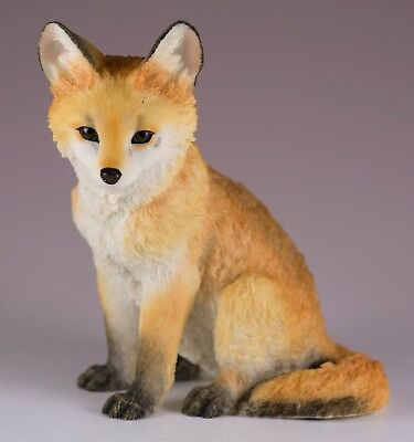 """Red Fox Pup Kit Figurine 4.25"""" High Detailed Polystone New In Box"""