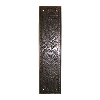Fan Door Push Plate Aged Bronze Antique Vintage Old Style Polished Cast Brass