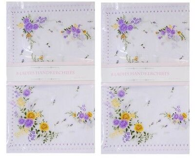 Pack of 8/16/24 Ladies Hankies Handkerchiefs Floral Cotton Polyester New Handky