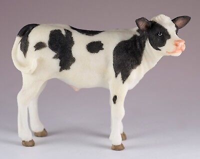 """Holstein Dairy Calf Cow Figurine 5"""" Long Highly Detailed Polystone New In Box!"""