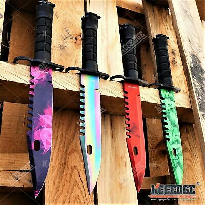4PC SET CSGO Tactical Fixed Blade Hunting Bayonet Bowie Military Combat Knife