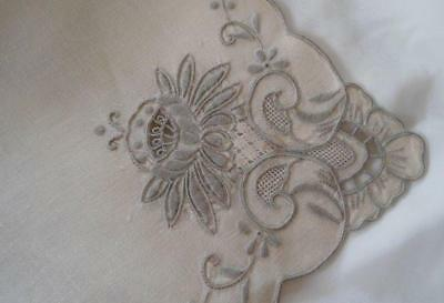 Vintage Set 8 Italian Linen Embroidered Napkins Needle Lace Beige 16""