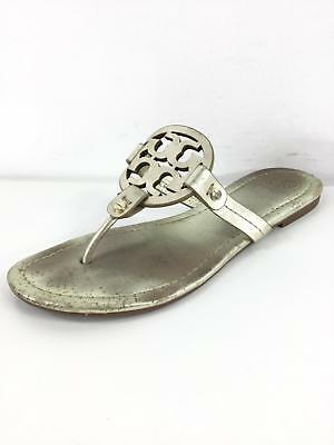 5b2334209906 G15 Tory Burch Miller Sparkle Gold Leather Thong Sandals Women Size 7 M