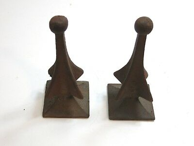 """Lot Of 2 Antique Cast Iron Fence Gate Post Spear Shaped Finial 7 1/2"""" Tall"""