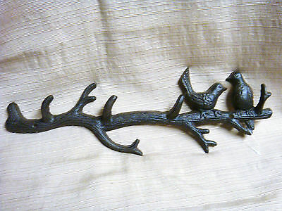 2 BIRDS on a BRANCH Cast Iron Wall Hooks