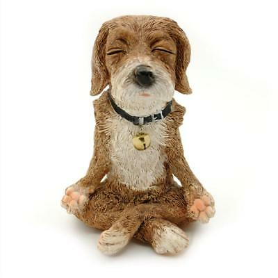 "CUTE MEDITATING DOG STATUE 4.5"" Yoga Lotus Pose Zen Puppy Small Resin Figurine"