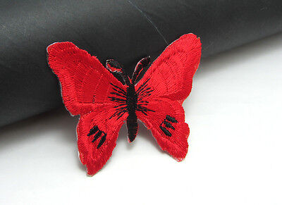 New 2pcs  red Butterfly Embroidered Applique Iron On Sew On Patch