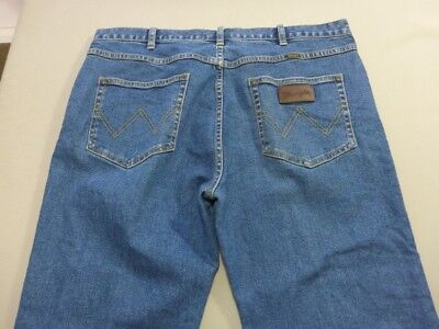 078 Mens Ex-Cond Wrangler Str8 Leg Stretch Denim Jeans Sze 38 / Short $130 Rrp.