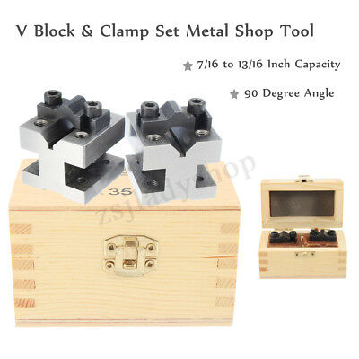 V Block & Clamp Bar Set 7/16 to 13/16'' Precision Hardened Steel Machinist Tool