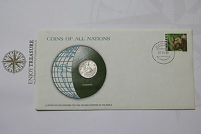 Zimbabwe 20 Cents 1980 Coins Of All Nations Cover Frank. Mint A61 #can97