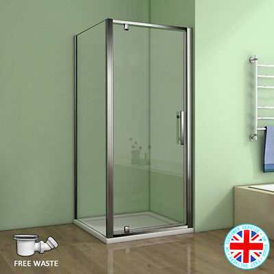 AICA Pivot Hinged Shower Door Enclosure Chrome 6mm Glass Cubicle Side Panel Tray