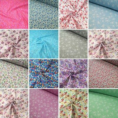Polycotton Fabric Ditsy Floral Flower Collection Flowers