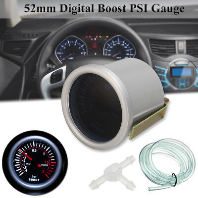 2'' 52mm Universal Car LED Turbo Boost Gauge Meter Pointer Smoke Bar White Light
