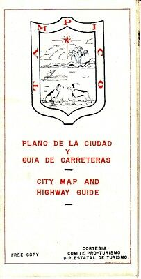 Tampico City Map and Highway Guide Small Vintage Map