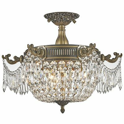 French Empire Basket Style Collection 3-light Antique Bronze and Crystal 20-inch
