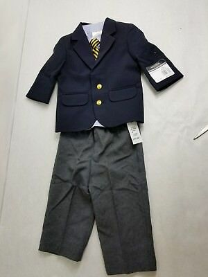 Infant//Toddler//Boys Nautica $50-$59.5 4pc Blue//Navy w// Suspenders Suits Sz 12m-7