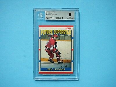 1990/91 Score Canadian Nhl Hockey Card #440 Eric Lindros Rookie Beckett Bgs 9 Mt