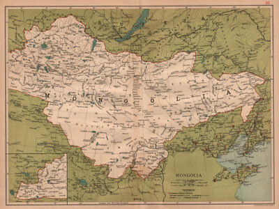 Mongolia showing the Great Wall of China. Peking/Beijing &c. STANFORD 1908 map