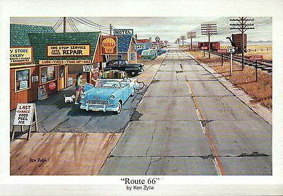 """"""" Route 66 """" by Ken Zylla, Shell Gas Station, Old Car -- Art Print, NOT Postcard"""