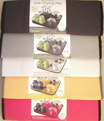 Microfibre Dish Drying Mat 42x47cm Sink Drainer Washing Up Tea Towel Glasses Pot