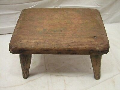 Early Primitive Wooden Milking/Foot Stool Bench Rest Farm Country Rough Top