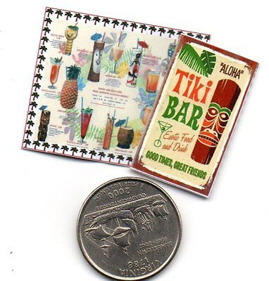 2  Miniature  VINTAGE Tiki Bar   MENUS   - Dollhouse 1:12 scale