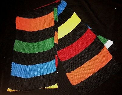 boys THE CHILDREN'S PLACE black RAINBOW COLOR STRIPE KNIT WINTER SCARF one size