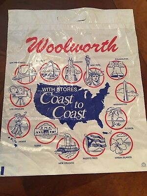 "Woolworth Vintage Shopping Bag Retail Memorabilia New Old Stock ""Rare"""