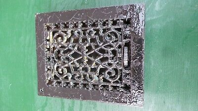 Vintage VICTORIAN Cast Iron Floor Grille 9x7 Heat Grate Register with Louvers