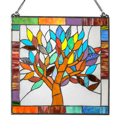 """River of Goods 15042 18"""" Square Tiffany Style Mystical World Tree Stained Glass"""