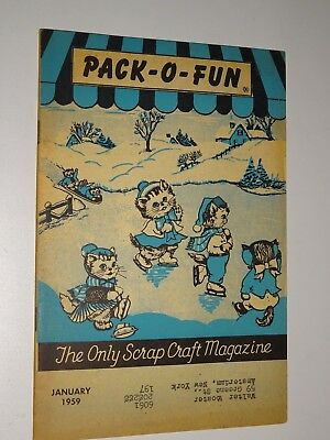 1959 PACK-O-FUN VINTAGE SCRAP CRAFT MAGAZINE January