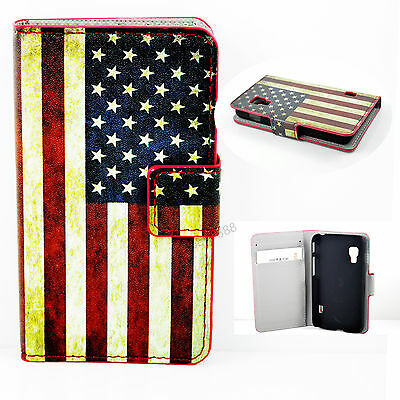 Protective Wallet Flip Leather US Flag Case Cover For LG Optimus L5 II Dual E455