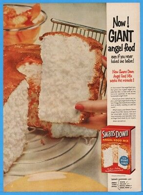 1954 Swans Down Cake Mix Angel Food GIANT Just Add Water Magazine Print Ad