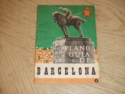 RARE 1960 OFFICIAL Barcelona Spain City Street Road Pictorial Map Tourist Guide