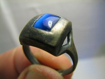 INTERESING ! AUTHOR'S WORK ! VINTAGE STERLING SILVER RING with STONE !  #539