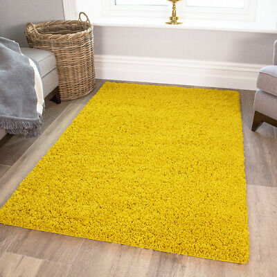Bright Yellow Mustard Thick Shaggy Rug Soft Cosy Cheap Non Shed Living Room Rugs