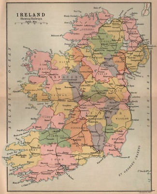 IRELAND. showing railways counties & provinces. BARTHOLOMEW 1882 old map