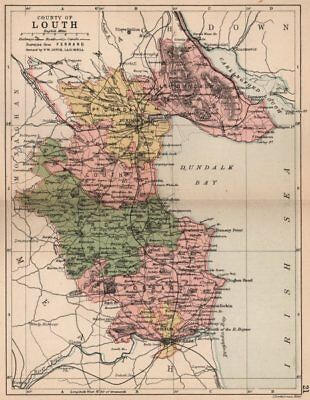 COUNTY LOUTH. Antique county map. Leinster. Ireland. BARTHOLOMEW 1882 old