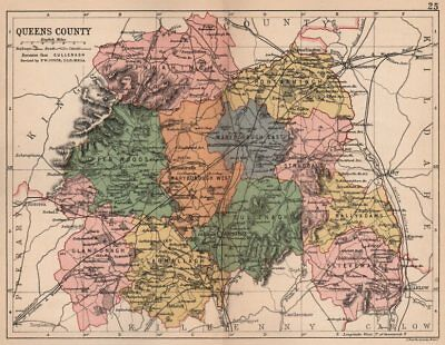 QUEENS COUNTY (LAOIS) . Antique county map. Leinster. Ireland. BARTHOLOMEW 1882