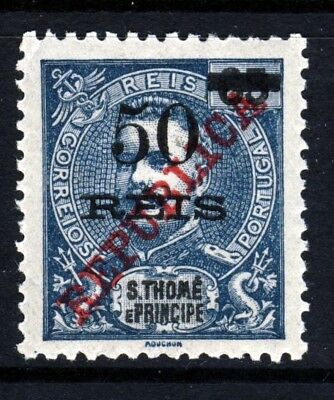 S.TOME (St.THOMAS) PORTUGAL 1913 65R. Surcharged 50R REPUBLICA Ovpt. SG 161 MINT