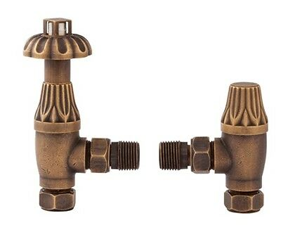 Traditional Victorian Antique Brass Thermostatic Radiator Valve Angled Pair RV