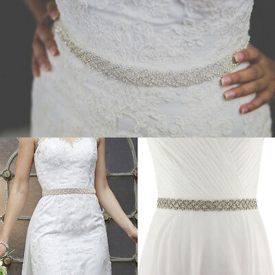 New Rhinestone Bridal Sash Waist Belt with Satin Ribbon for Wedding Party Dress