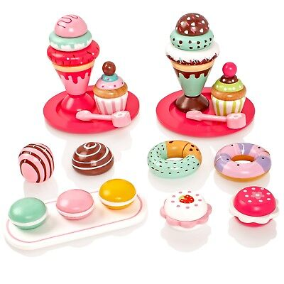 Childrens Wooden Cakes Ice Creams Set Pretend Play-Food Playset Teaset Party Toy