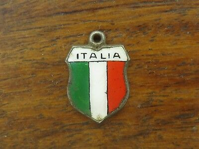 Vintage silver ITALIA ITALY COUNTRY FLAG ENAMEL TRAVEL SHIELD charm
